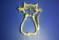 10k yellow  solid gold cat good luck pendant  with  diamonds