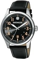 NEW Wenger Men's Terragraph Black  Leather  Sapphire  Swiss Watch 0541.104