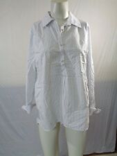 Women's Ro & De Button Up Striped Shirt In White And Blue Size S