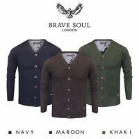 Brave Soul Mens Cardigan Button Up V-Neck