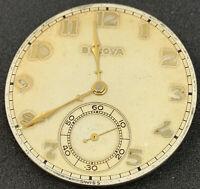 Bulova 17ah Pocket Watch Movement Swiss 39 Mm 15j Gold Hands Numbers Ticks F4807