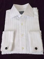 Hickey Freeman White  Striped DRESS SHIRT French Cuff  MENS 15 1/2  - 39cm