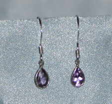 BEAUTIFUL 6MM X 4MM PEAR SHAPE  AMETHYST-HANDCRAFTED- .925 STERLING SILVER DROPS