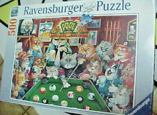 """Ravensburger Puzzle 500 Piece Pool Hall Cats 19.5"""" x 14.25"""" Sealed Rare"""
