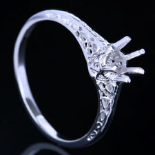Round 4-5mm Semi Mount Gold Vintage & Antique Jewelry Ring Solid 10K White Gold
