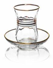 Original Turkish Tea Cups with Saucers, Gold Trim Design Glass, 4 oz, Set of 6