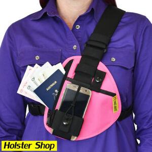 Phone & Radio Holster Chest Harness - Left - Pink - Two Ants Pharaoh CT100SLPK