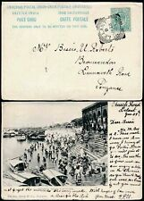 INDIA 1903 PPC SENT in GB CORNWALL LELANT to PENZANCE...CALCUTTA BATHING GHAT
