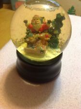 Vintage Music Box Snow Globe Father Christmas Santa Clause Is Coming To Town