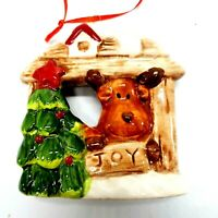 "Ceramic Reindeer in Stable with Christmas Tree ""Joy"" Ornament 3.5"" x 3.5"""