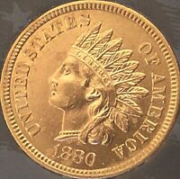 1880 INDIAN HEAT PENNY 4  DIAMONDS  ***BEAUTIFUL COIN***Cleaned