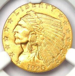 1926 Indian Gold Quarter Eagle $2.50 Coin - Certified NGC MS62 (UNC BU)