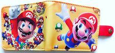 Cartoon Mario Bros Super Mario Wallet id window 3 card slot pocket Bifold popper