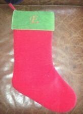 Vintage Red Christmas Stocking With Letter�E� And Green Top