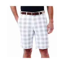 Haggar Men's Performance Shorts Cool 18 White Plaid Size 42W Flat Front NEW