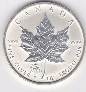2000 CANADA $5 9999 SILVER MAPLE LEAF DRAGON PRIVY MINT MARK 1 OZ COIN