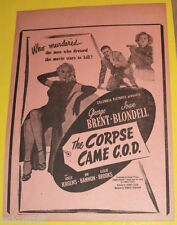 """The Corpse Came C.O.D. 9 1/2"""" x 13"""" Movie 1947 single Page Flyer Nice Graphics!"""