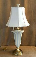 "LENOX Symphony 20"" ivory electric table lamp porcelain shade tulip quoizel"