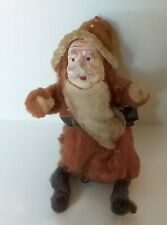 Antique- Vtg Mini Santa W/ Celluloid Or Paper Mache Face, Spun Wool Chenille