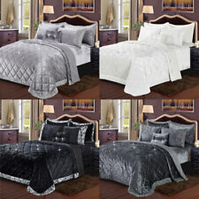 Luxury 3 Piece Crushed Velvet Quilted Bedspread Comforter Set Double King Size