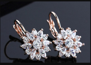 14K Rose Gold Over Floral Engagement & Wedding Dangle Drop Earrings 2 Ct Diamond