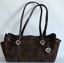 Brighton Satchel Tote Womens Brown Suede Croc Leather Handbag Purse Draw String