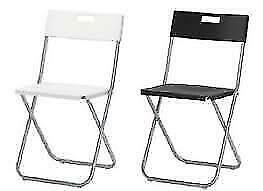 IKEA Folding Chair Gunde White/Black Steel Polypropylena Plastic Seat Garden