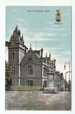 County Buildings Alloa & Arms Clackmannan c1906 Old Postcard Postally Unused