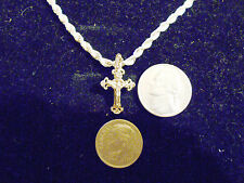 bling gold plated christian god cross crucifix pendant charm necklace jewelry gp