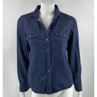 J Crew Factory Chambray Shirt Small Blue Roll Tab Sleeve Button Up Top Womens