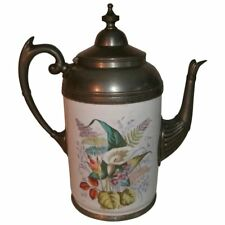 Antique Victorian Enamel & Pewter Gooseneck Coffee Pot / Teapot ~ Floral Design