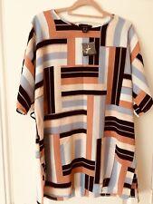 Stripe Longline Blouse Cutout Sleeve With Side Split And Waist Belt