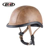 Vintage Motorcycle Half Helmet Deluxe Leather Adult Kid Unisex Scooter Chopper