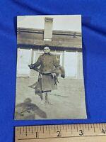 RARE Antique RPPC Postcard VTG Young Man Boy Fox Pelt Fur Hunting WWI-Era