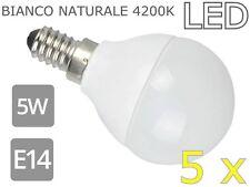 LAMPADINE LED 5W E14  OPACA 4200K BIANCO NATURALE 5 PEZZI 5X