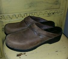 LL BEAN BOMBER BROWN LEATHER BRAIDED CLOGS MULES 44 10 LADIES CASUAL