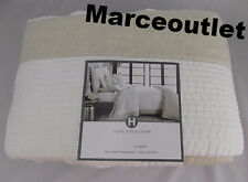 Hotel Collection Linen Natural Voile FULL / QUEEN Quilted Coverlet White - Beige