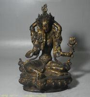 """8,4 """"Bouddhisme Bronze Doré au Tibet, 4 bras Sculpture de Chenrezig Tara"""