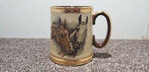 Vintage Ceramic Gibson Tankard gold & Brown with Horses & Jockey design