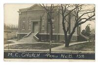 RPPC Methodist Church in PERU NE Vintage 1911 Nebraska Real Photo Postcard