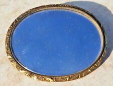 Lock of Hair-720 Silver-Free Usa Ship Estate Brass Mourning Brooch Pin Mirror w/