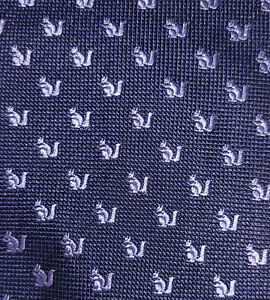 Banana Republic Navy Blue Purple Squirrel Embroidered Silk Tie NWOT Italy