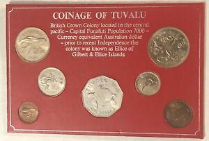 Tuvalu 1976 Mint Set $1 Dollar, 50c, 20c, 10c, 5c, 2c & 1c Copper Nickel Copper