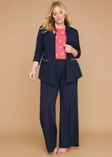 Lane Bryant NWT Womens Allie Wide Leg Tailored Stretch Pants 22R Blue Career 175
