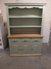 HAMPSHIRE PAINTED 3 DOOR OPEN TOP DISPLAY DRESSER- SOLID OAK TOP- BESPOKE