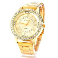 Armbanduhr Damenuhr gold Strass Analog Quarz Damen Metallarmband Uhr NEU