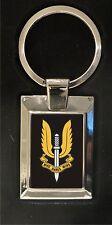 SAS crest - who dares wins! - high polished metal keyring