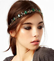 Women Gem Gemstone Rhinestone Green Boho Bohemian Party Hair chain head band
