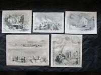 5 1884 Civil War Prints of Hospitals, Nurses, Medical Doctors, Surgeons +