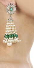3.26cts ROSE CUT DIAMOND EMERALD PERAL925 SILVER VICTORIAN LOOK DANGLER EARRING